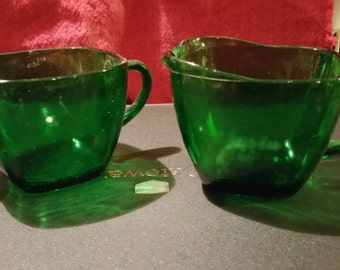 Vintage Forest Green Cream and Sugar Set