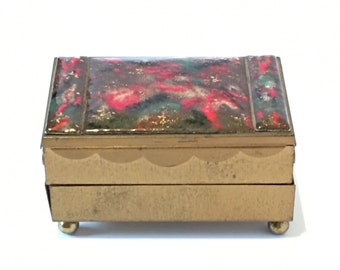Brass Enamel Jewelry Box - 1960's - Velvet-Lined and Tiered