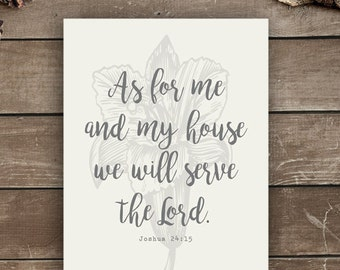 Joshua 24:15, 11x14, Wall Print, Farmhouse Style