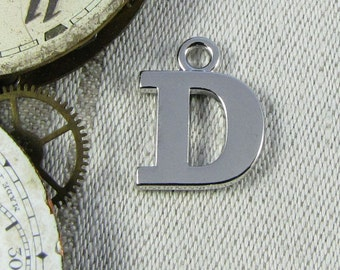 """Silver Wide Serif Letter """"D"""" Charm 1 or 5 letters per package  ALF023d"""