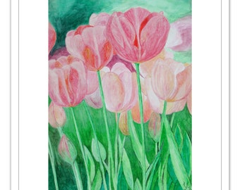 Pink Tulips, 2012. Original handmade artwork directly from artist