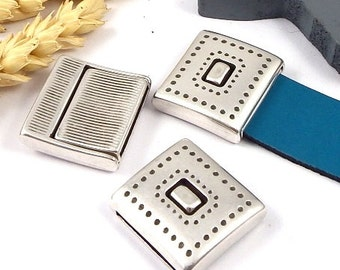 clasp magnetic geometric ethnic silver plated leather 20mm