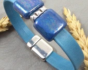 Kit tutorial ultramarine blue double leather strap beads ceramic