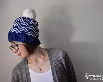 THE TETTEGOUCHE HAT | Pom Pom Hat | Slouchy Beanie Hat | Handknit Hat | Custom Knit Hat | Fair Isle Knit Hat | Warm Winter Hat
