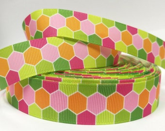 7/8 inch  Geometric Design Pink, Green, Orange   Printed Grosgrain Ribbon for Hair Bow