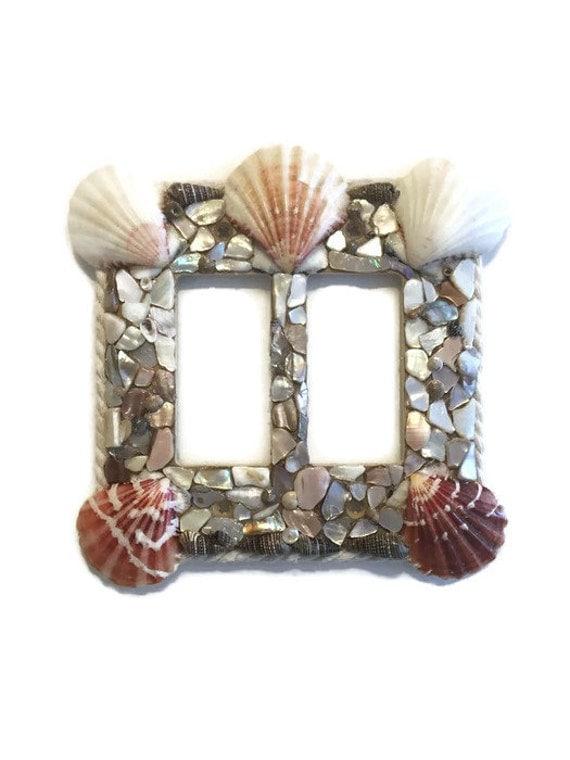 Seashell Double Rocker Switch Plate Handmade Rocker Light