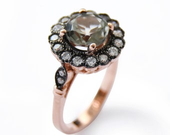 Vintage gemstones ring, Flower Rose Gold ring, Green Amethyst and clear zircons, 14K Rose Gold, Large multistone ring, Gold statement ring