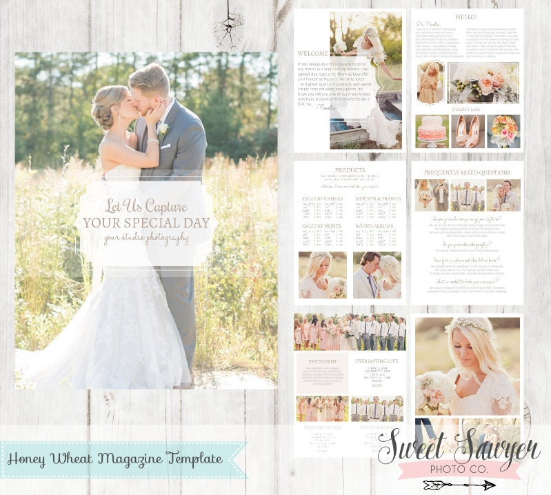 Sale instant download wedding magazine template 24 pages for Wedding photography magazine template