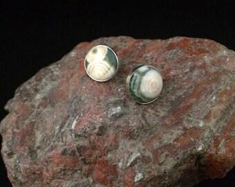 Sterling Silver 12mm Ocean Jasper Earrings