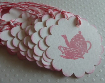 Pink tea pot tags tea cup tags scalloped tea party favor tags pink and white bridal shower tea baby shower tea - set of 12
