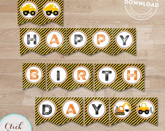 Construction Birthday Banner, Construction Banner, Construction Birthday Party, Decoration, Dump Truck, Birthday Banner INSTANT DOWNLOAD
