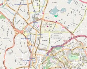 Editable City Map of Kuala Lumpur