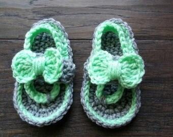 Handmade crocheted baby flip flops