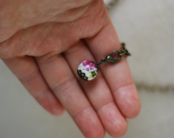 Flower necklace, porcelain jewelry, porcelain necklace, vintage looking necklace, flower jewelry- long chain necklace