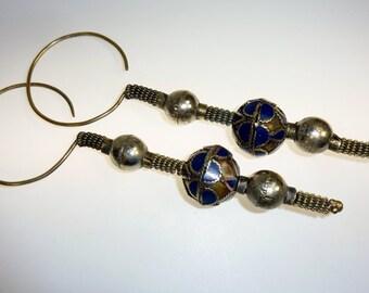 Tribal Earrings, Vintage Blue Beaded Afghani Earrings
