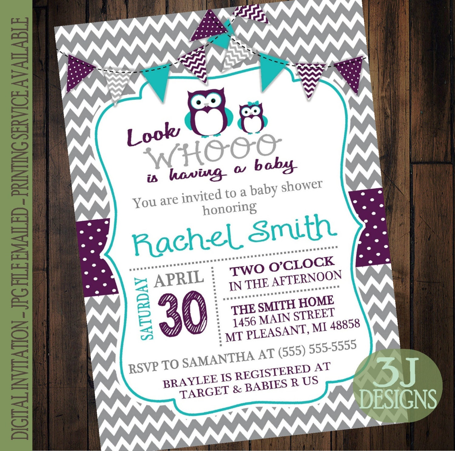 owl baby shower invitation gray chevron with purple teal