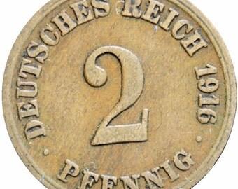 Germany Empire 1916 A 2 Pfennig Wilhelm I Copper Coin