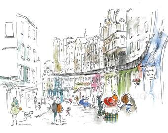 Victoria street in Edinburgh, original drawing, illustration