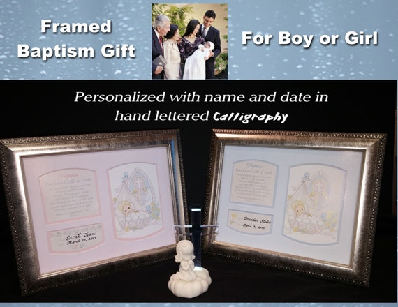 Baptism Framed Precious Moments Prayer Picture Gift With Hand