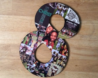 13 Inch Custom Photo Collage, Photo Collage Number, Photo Collage on Wood, Photo Collage Gift, Personal Collage, Custom Photo Letters