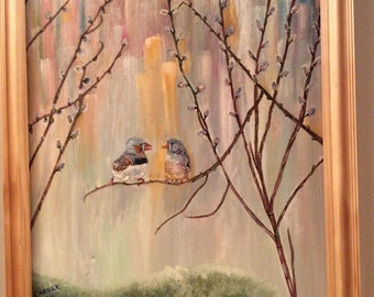 Zebra finch painting