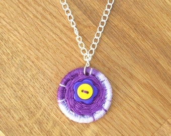 Handmade Dorset Button purple pendant necklace on silver chain, bright and fun jewellery to make people smile, flower power necklace