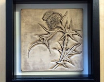Ceramic Hand carved thistle in stone wash finish