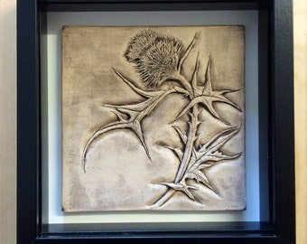 Ceramic Hand carved thistle in stone wash finish-Limited edition READY TO SHIP