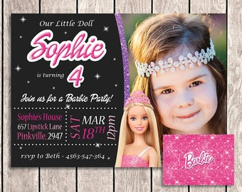 Barbie Birthday Invitation with Photo and Back Side - BRB01-2