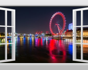 London Eye at night, England 3D Windowscape Wall Art Sticker- VPRNT1056