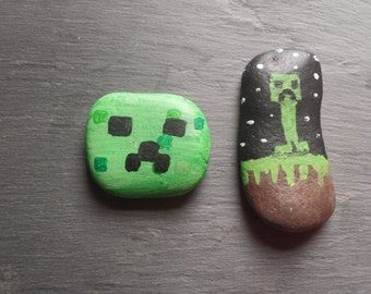 Minecraft creeper handpainted welsh beach stones.