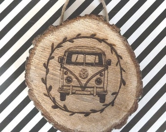 VW Wooden Tree Slice Engraved