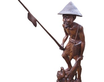 Fisherman Hand Carved Wood Sculpture
