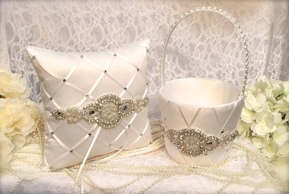 Pillow Set Flower Girl Basket Ring Pillow Silver And White Wedding