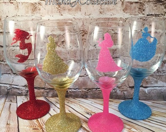 Sparkley Princess Wine Glass / Aurora Sleeping Beauty / Ariel Little Mermaid / Belle Beauty and the Beast / Cinderella