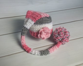 Ready to Ship - 0-3 Month Pink and Grey Stocking Hat - Long Pixie Hat - Baby Girl Props - Pink and Grey Hat - Newborn Props