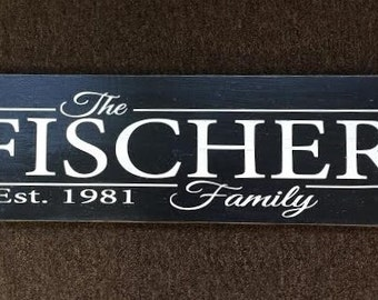 Painted Family Established sign, 8x24. Perfect Wedding gift