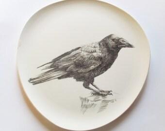 Ceramic Plate -  Hand Drawn Crow Plate 2