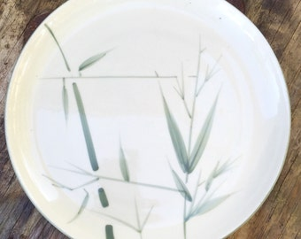 vintage Stoneware Dinner Plate Platter Bamboo Pattern by Winfield Green Trim 10 1/4 inch Discontinued 1947 hand crafted in usa
