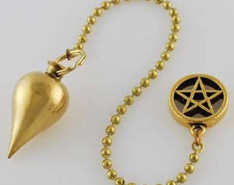 Brass Pendulum with Pentagram charm  Wicca magic  ritual ceremony divination tools