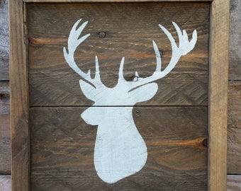 Rustic wood framed deer art / off white deer head silhouette sign