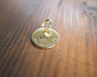Personalized Hand Stamped Brass Cat Tag // Custom Pet ID - Cat ID Tag - Cat Collar Name Tag - Dog ID Tag - Metal Pet Tag