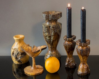 40's Vintage Arts and Craft Wood Vase and Candleholder Collection
