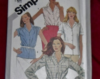 Vintage Simplicity Blouse Pattern #5182 Half-Sizes 14 1/2-18 1/2 Uncut and Unused