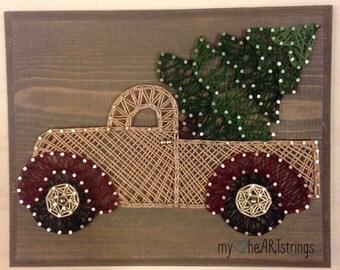 String art Christmas truck
