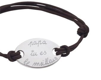 Oval solid silver custom bracelet