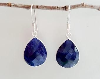 Sapphire Earrings - Sterling Silver Blue Sapphire Earrings - September Birthstone Earrings - Dangle Drop Earrings - Midnight Blue Earrings