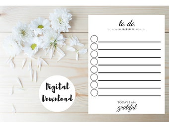 To Do List - Daily To Do List - Day Planner Page - Daily Planner - Day Planner Insert - Printable To Do List - Gratitude Journal Insert