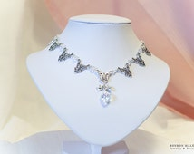 Antique Flowers Lovely Crystal heart Ribbons choker Short Necklace - Clear x silver - Cute Elegant Gothic and Lolita jewelry