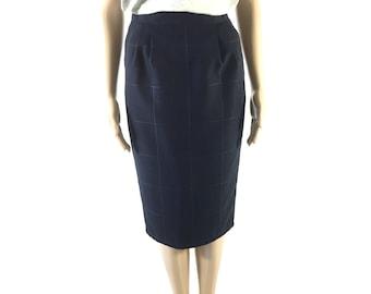 Vintage Designer Vertigo Navy Checkered Pencil Skirt from Paris, size Small